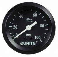 DURITE 52mm Oil pressure gauge,  Capillary model ,(270 degree sweep)  , 12 or 24volt